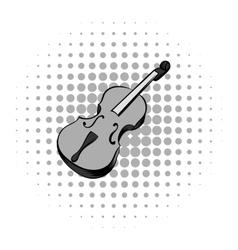 Violin grey comics icon vector image