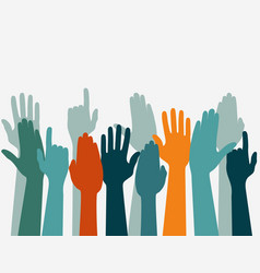 voting hand raised up election concept arms in vector image