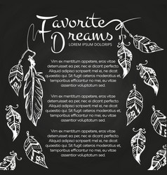 white hand drawn feathers chalkboard vector image vector image