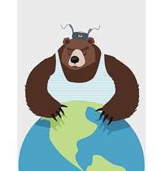 Wicked wild bear of russia hugging planet the vector