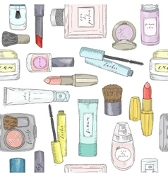 Hand drawn cosmetics pattern beauty and makeup vector