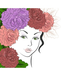 Romantic girl with floral hair vector