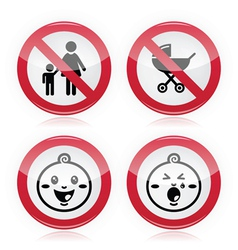 Warning sign no babies no children vector