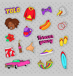 Teens fashion set with pink car fast food vector