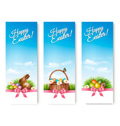 Three banners with easter backgrounds eggs in vector