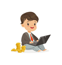 Cute boy businessman working on his laptop and vector