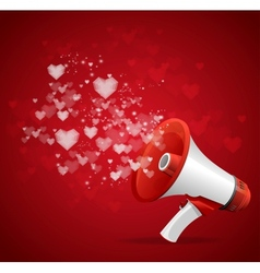 Heart and megaphone Valentines day card vector image
