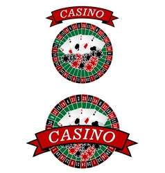Casino roulette with gambling elements vector