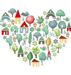 Heart made of trees i love countryside vector