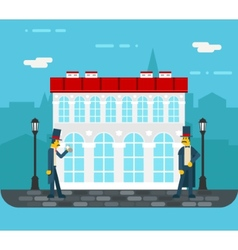 Meeting gentlemen on old city street icon on vector image