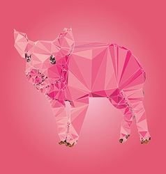 Isolated pig made with triangles design vector