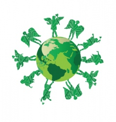 Green kids on green earth vector