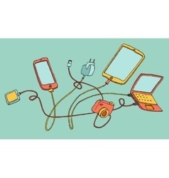 Electronic devices cartoon hand drawn vector
