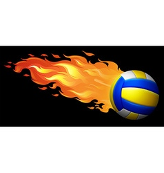 Flaming volleyball on black vector