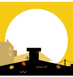 Autumn town black wilhouette with sunset vector