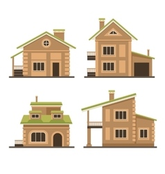 Flat Residential Houses Set vector image