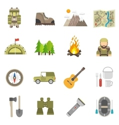 Tourism icons flat set vector