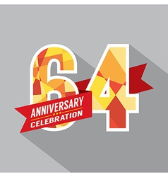 64th Years Anniversary Celebration Design vector image