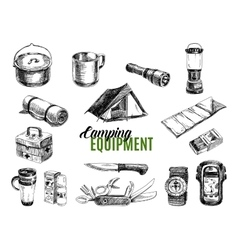 Set of highly detailed hand drawn camping vector