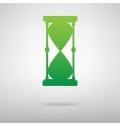Hourglass green icon with shadow vector