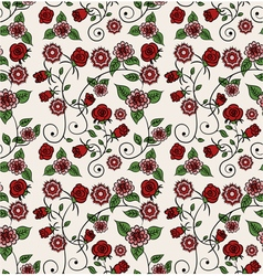 Red and pink floral pattern vector image