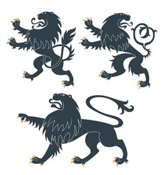 Heraldic lion set vector image