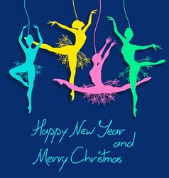 Christmas and New Year card with ballet dancers vector image