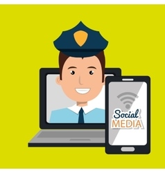 Laptop user with social networking smartphone vector