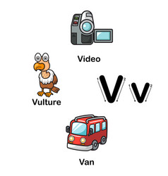 Alphabet letter v-video vulture van vector