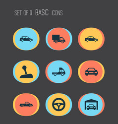 Auto icons set collection of stick hatchback vector