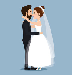 Beautiful young bride and groom couple embracing vector