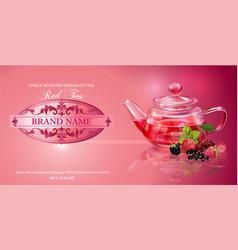 Berry tea banner vector