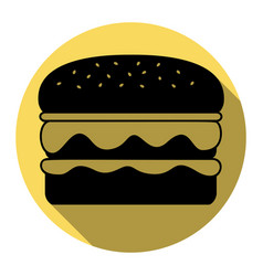 Burger simple sign flat black icon with vector