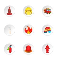Burning icons set cartoon style vector
