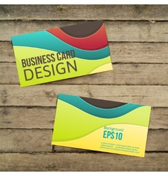Business card on the wooden table vector image vector image