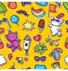 Carnival party kawaii seamless pattern cute vector