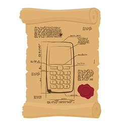 Cell phone with buttons on old scroll paper vector