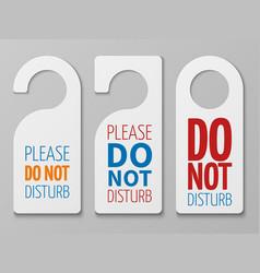 Do not disturb room signs hotel door vector