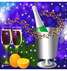festive background with wine goblet and orange vector image vector image