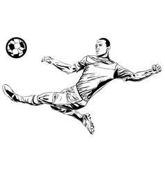 football soccer player sketch with ball isolated vector image vector image