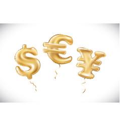 gold dollar euro yen symbol alphabet balloons vector image vector image