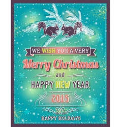 green christmas card with decorative ornament vector image