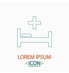 Hospital bed computer symbol vector image