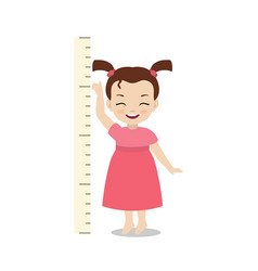 kid measures the growth kid measures the growth vector image