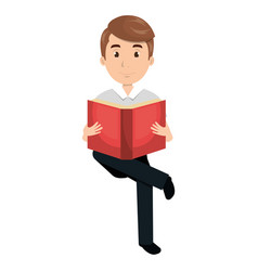 man reading textbook character vector image