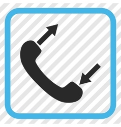 Phone talking icon in a frame vector