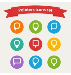 pointer white icons set various forms vector image vector image