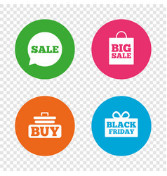 Sale speech bubble icons buy cart symbol vector