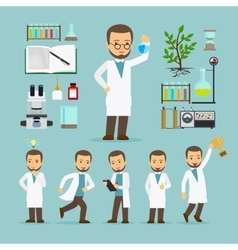 Scientist with laboratory equipment icons vector image
