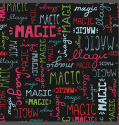 seamless pattern doodle magic words on black vector image